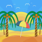 Tropical beach with palm trees and umbrella — Stock Vector