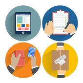 набор руки клиентов покупки — Cтоковый вектор