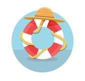 White lifebuoy with red stripes and rope — Wektor stockowy