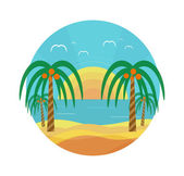 Tropical beach with palm trees — Stock Vector