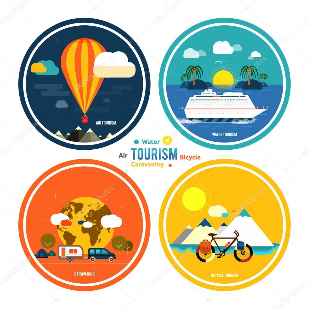 Set di icone di viaggiare e di pianificazione una vacanza estiva vettoriale stock 46208829 - Diversi tipi di turismo ...