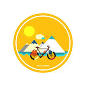 Bicycle near the mountain. Bicycle tourism. — Stock Vector