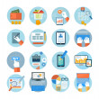 Постер, плакат: Business office and marketing items icons
