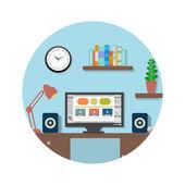 Modern office interior with designer desktop — Stock Vector