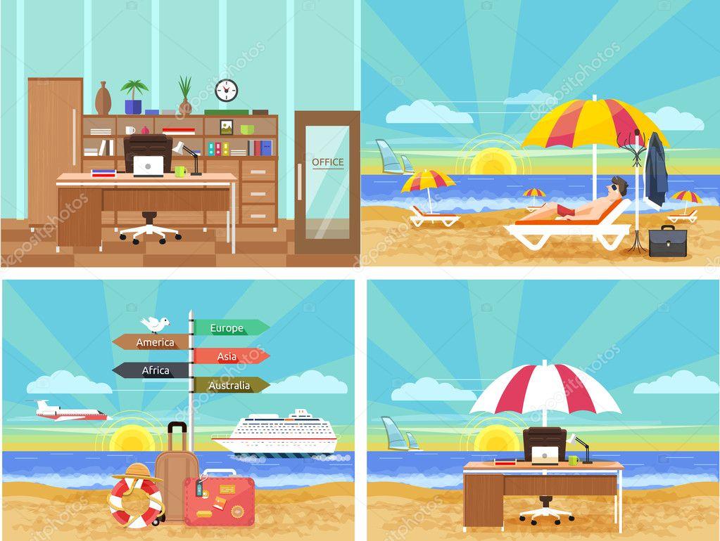 Set di icone di viaggiare e di pianificazione una vacanza estiva vettoriali stock robuart - Diversi tipi di turismo ...