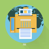 Fax icon in flat design — 图库矢量图片