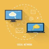 Social network concept in flat design — Stock Vector