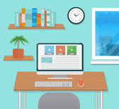 Modern office interior with designer desktop — Stock Vector
