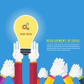 Hands with lightbulb idea — Stock Vector