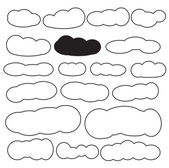 Cloud shapes set in black color — Stock Vector