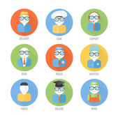 Set of faces icons of occupation in flat style — Vector de stock