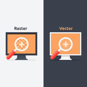 Difference between vector and raster format — Stock Vector