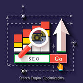 Seo search engine optimization, programming process — Stock Vector