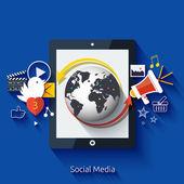 Social media. Cloud of application icons — Stock Vector