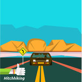 Hitchhiking tourism — Stock Vector
