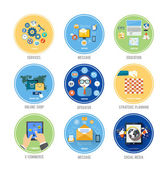 Business, office and marketing items icons. — Vector de stock