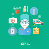 Hospital concept with item icons — Stock Vector