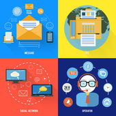 Message, fax, social network and support icons — Stockvector
