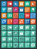 Planos iconos para aplicaciones web y móviles — Vector de stock