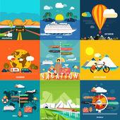 Yaz tatil Planlama ve seyahat Icons set — Stok Vektör