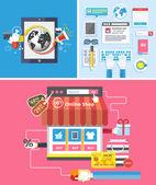 Online shop  social media and seo optimization concept — Stock Vector