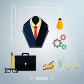 Business concept. Tools, interier, online, documents — Stock Vector