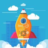 Start up rocket — Stock Vector