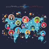 Social media network connection concept — Stock Vector