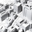 Architectural visualization of a city aerial view — Stock Photo