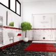 Bathroom in red, white and black closeup — Stock Photo #26537863