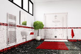 Bathroom in red, white and black closeup — Stock Photo