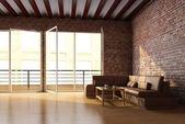 Loft interior with brick wall — Stock Photo