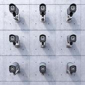 Nine security cameras — Stock Photo