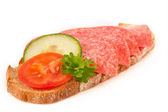 Bred with salami — Stock Photo
