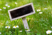 Blank signboard in the meadow angular — Stock Photo