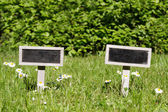 Two Blank signboard in the meadow angular — Stock Photo