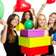 Girls having a party with baloons and boxes — Stockfoto