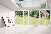 Modern loft with image moving out — Stock Photo