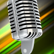 Vintage microphone with blurry background — Stock Photo