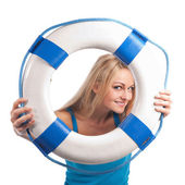 Girl with lifebuoy — Stock Photo