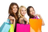 Tři dívky s nákupní tašky přes rameno — Stock fotografie