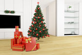Living room with christmas tree — Stock Photo