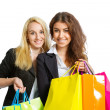 Two girls with shopping bags — Stockfoto