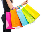 Arm with shopping bags — Stock Photo