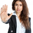 Cute Girl with stop hand — Stock Photo