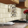 Kitchen interior closeup with red roses — Stock Photo