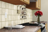 Kitchen interior closeup with red roses — Stockfoto