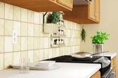 Cozinha interior closeup com ervas — Foto Stock