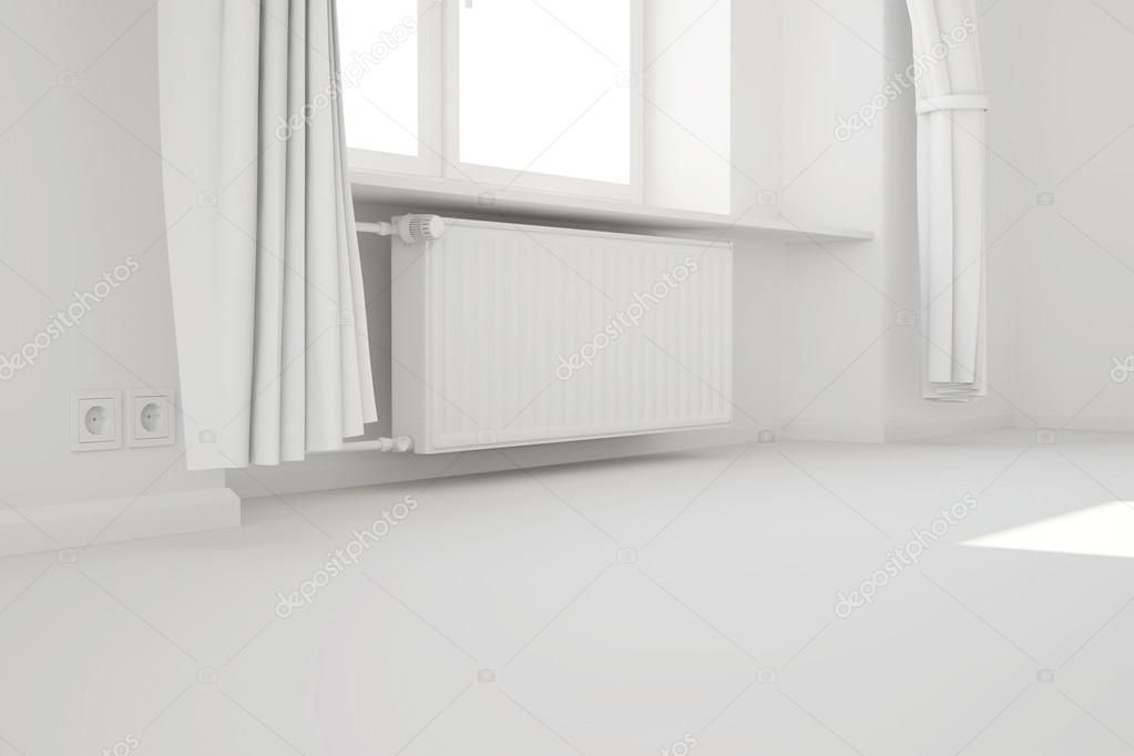 Vide chambre blanche avec fen tre et syst me de chauffage for Chambre vide