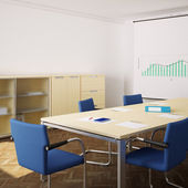 Meeting room with blue chairs and flipchart square — Stock Photo